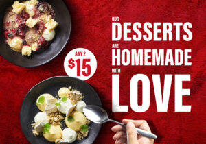 2 desserts for $15